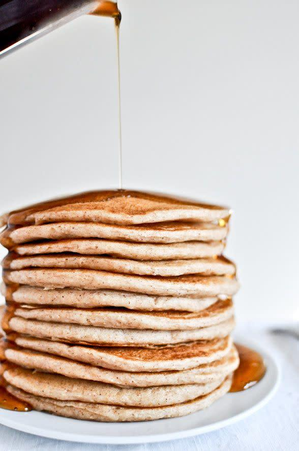 "<strong>Get the <a href=""http://www.howsweeteats.com/2012/02/greek-yogurt-pancakes/"" rel=""nofollow noopener"" target=""_blank"" data-ylk=""slk:Whole Wheat Greek Yogurt Pancakes recipe"" class=""link rapid-noclick-resp"">Whole Wheat Greek Yogurt Pancakes recipe</a> from How Sweet It Is</strong>"