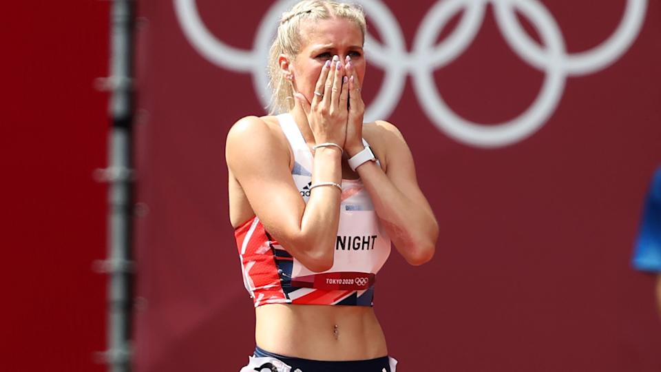 Jessie Knight, pictured here after falling in the 400m hurdles at the Olympics.