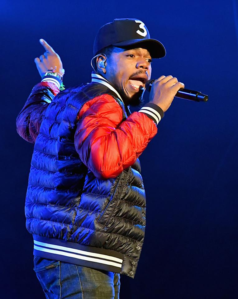 <p>Chance The Rapper performs on Downtown Stage during day 1 of the 2017 Life Is Beautiful Festival on September 22, 2017 in Las Vegas, Nevada.<br />(Photo by Jeff Kravitz/FilmMagic ) </p>