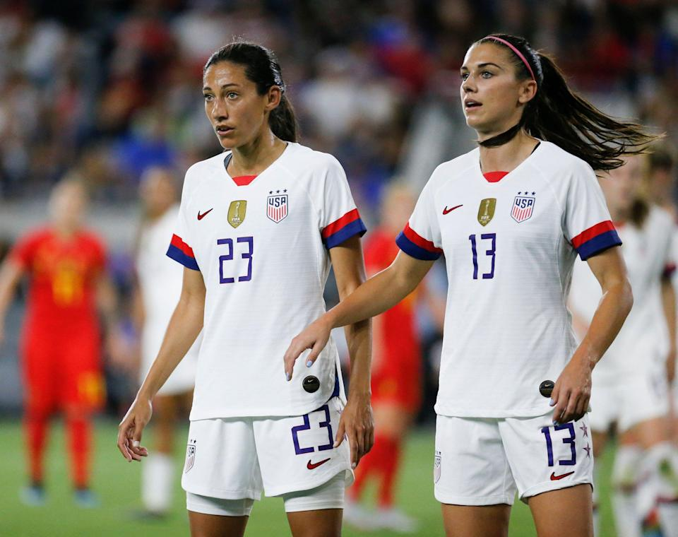 United States forwards Christen Press (23) and Alex Morgan (13) during an international friendly soccer match between United States and Belgium Sunday, April 7, 2019, in Los Angeles. United States won 6-0. (AP Photo/Ringo H.W. Chiu)
