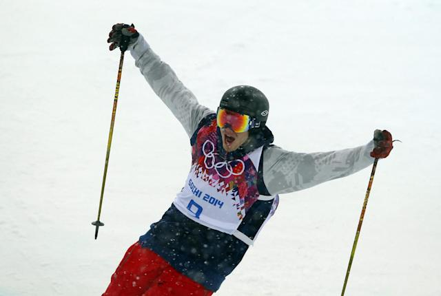 David Wise of the United States reacts after a run during the men's ski halfpipe final at the Rosa Khutor Extreme Park, at the 2014 Winter Olympics, Tuesday, Feb. 18, 2014, in Krasnaya Polyana, Russia. (AP Photo/Sergei Grits)