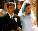 <p>Although the marriage ended tragically, Don Corleone's youngest son's Italian wedding to Apollonia Vitelli was perfecto, especially her high neck lace gown. </p>