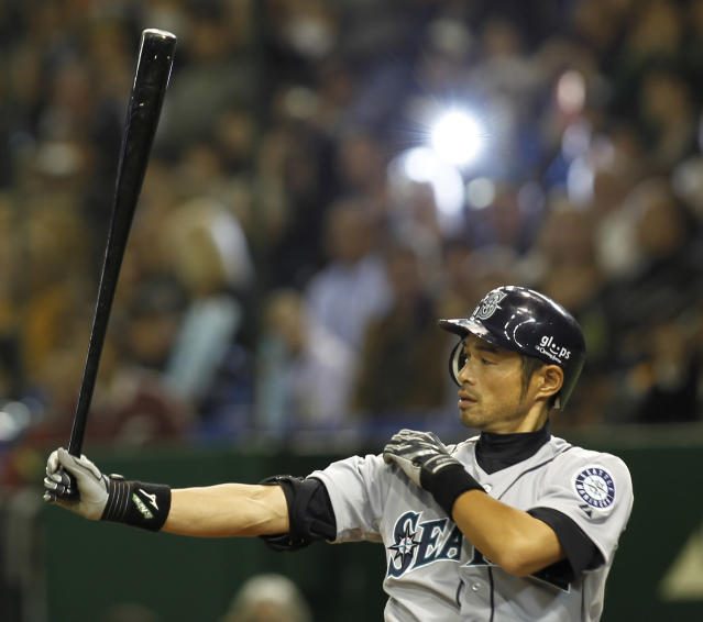 "<a class=""link rapid-noclick-resp"" href=""/mlb/players/6615/"" data-ylk=""slk:Ichiro Suzuki"">Ichiro Suzuki</a> was a superstar in Seattle. (AP Photo/Koji Sasahara)"
