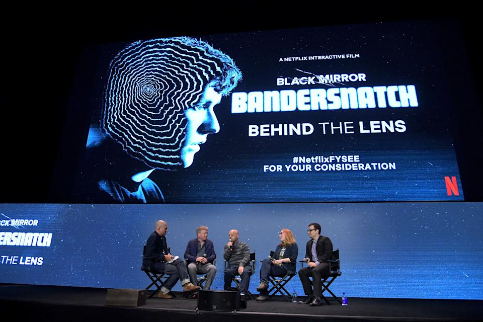 LOS ANGELES, CALIFORNIA - MAY 31: (L-R) Dominic Patten, Russell McLean, David Slade, Netflix Director of Product Innovation Carla Engelbrecht and Netflix Director of Original Series Andy Weil speak onstage during Netflix FYSEE Behind The Lens for Black Mirror's 'Bandersnatch' at Raleigh Studios on May 31, 2019 in Los Angeles, California. (Photo by Charley Gallay/Getty Images for Netflix)