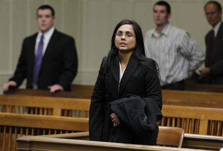 Annie Dookhan, a former chemist at the Hinton State Laboratory Institute, listens to the judge during her arraignment at Brockton Superior Court in Brockton, Massachusetts