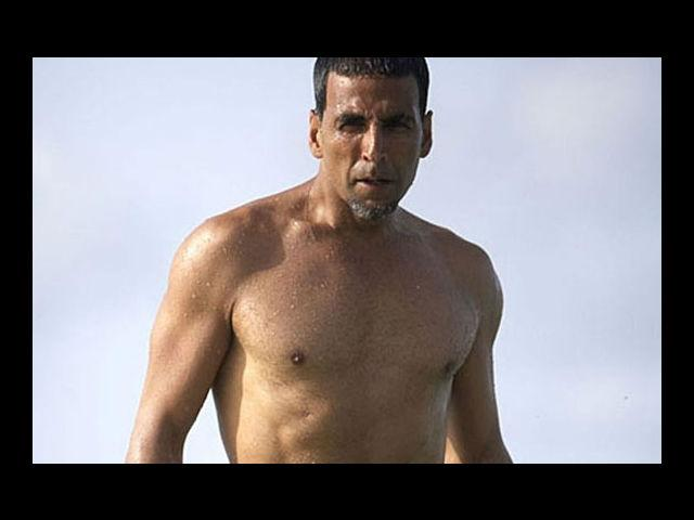 <b>Akshay Kumar</b><br>The image of a hairy-chest Bollywood khiladi Akshay Kumar is a thing of distant memory. Now we have a bare-chested avatar of Akki doing the rounds.