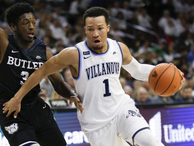 "Villanova guard <a class=""link rapid-noclick-resp"" href=""/ncaab/players/131426/"" data-ylk=""slk:Jalen Brunson"">Jalen Brunson</a> (1) in action during an NCAA college basketball game against Butler, Saturday, Feb. 10, 2018, in Philadelphia. Villanova won 86-75. (AP Photo/Laurence Kesterson)"