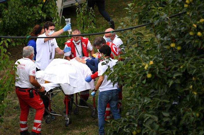 IMOLA ITALY SEPTEMBER 24 Chloe Dygert of The United States Crash Injury Accident Doctors Red cross during the 93rd UCI Road World Championships 2020 Women Elite Individual Time Trial a 317km stage from Imola to Imola ITT ImolaEr2020 Imola2020 on September 24 2020 in Imola Italy Photo by Tim de WaeleGetty Images