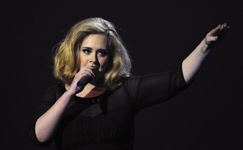 British singer-songwriter Adele, pictured at the BRIT Awards in London on February 21, 2012