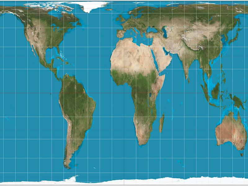 A Gall-Peters projection map of the world, which gives a much better picture of what the world as a whole actually looks like: Strebe