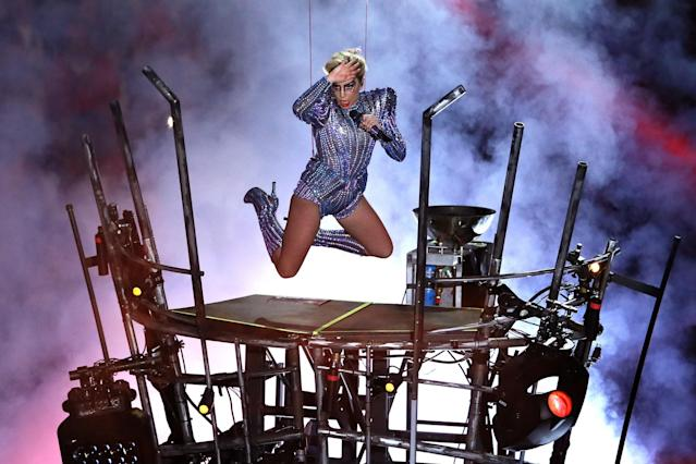 <p>Lady Gaga performs during the Pepsi Zero Sugar Super Bowl 51 Halftime Show at NRG Stadium on February 5, 2017 in Houston, Texas. (Photo by Ezra Shaw/Getty Images) </p>
