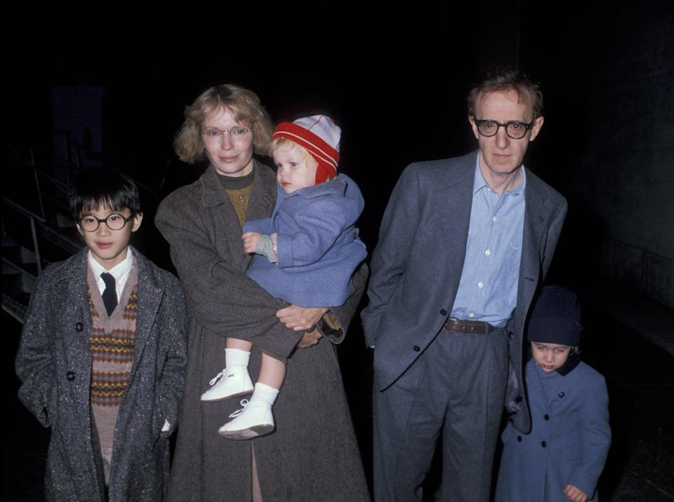 """<p>Over the course of several years, <a href=""""http://www.nytimes.com/2018/01/31/movies/woody-allen-mia-farrow-dylan-farrow-a-timeline.html"""" class=""""link rapid-noclick-resp"""" rel=""""nofollow noopener"""" target=""""_blank"""" data-ylk=""""slk:the Allen-Farrow family continued to expand"""">the Allen-Farrow family continued to expand</a>, according to the <strong>New York Times</strong>. In 1985, Farrow adopted a daughter, Dylan, and in 1987, she gave birth to a son, Satchel, who has mostly gone by his middle name, Ronan. By 1991, Allen had adopted Dylan and another of Farrow's children, Moses Farrow.</p>"""