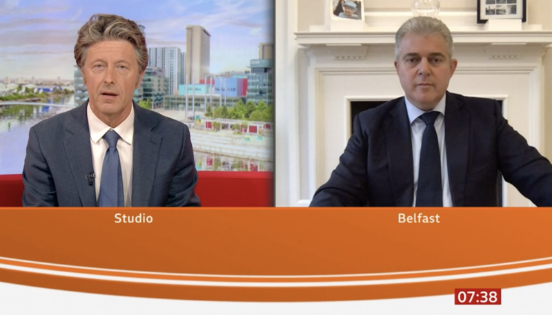 Brandon Lewis, right, admitted on BBC Breakfast that people from Spain can holiday in the Lake District – but those already in England can't. (BBC Breakfast)