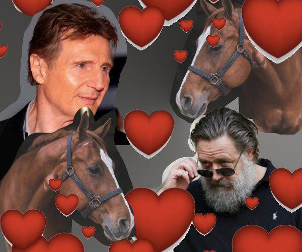 Liam Neeson and Russell Crowe both confessed to horsin' around with their co-stars, horse and horse. (Photo: Illustration by Priscilla Frank/HuffPost; Photos by Getty)