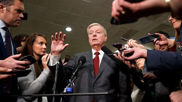 PHOTO: Sen. Lindsey Graham speaks to the media before attending the impeachment trial of President Donald Trump on charges of abuse of power and obstruction of Congress, Jan. 23, 2020, on Capitol Hill in Washington. (Jacquelyn Martin/AP)