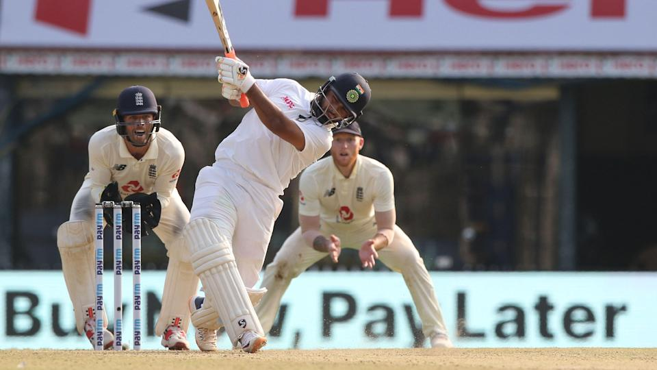 Rishabh Pant attacks the English spinners on Day 1 in Chennai.