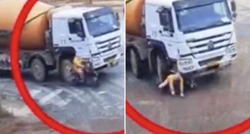 A cyclist is pictured being run over by a truck in China.