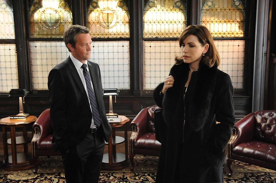 <p>The actor's slap-me dry delivery was way more palatable as Mike Kresteva, Peter's political rival, than it is as Oscar on <i>The Odd Couple</i>. Damn you, <i>Go On</i>!<br><i>(Credit: David M. Russell/CBS)</i></p>