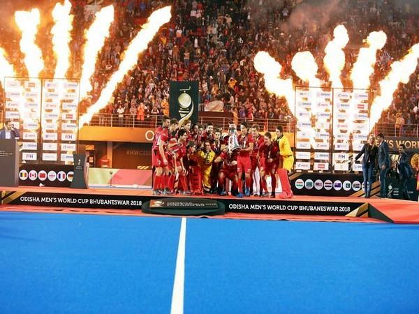 Belgium team celebrating after winning the 2018 World Cup at Kalinga Stadium (Photo/ Hockey India)