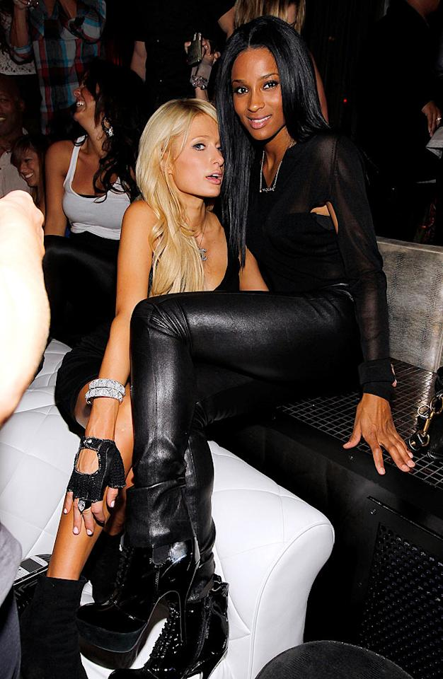 "Enjoying the single life after her split with Doug Reinhardt, Paris Hilton got up close and personal with singer Ciara, who was rockin' a pair of seriously killer boots. Christopher Polk/<a href=""http://www.wireimage.com"" target=""new"">WireImage.com</a> - April 28, 2010"