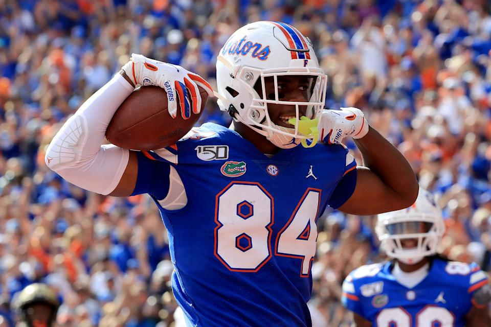 GAINESVILLE, FLORIDA - NOVEMBER 09: Kyle Pitts #84 of the Florida Gators celebrates a touchdown during the game against the Vanderbilt Commodores at Ben Hill Griffin Stadium on November 09, 2019 in Gainesville, Florida. (Photo by Sam Greenwood/Getty Images)