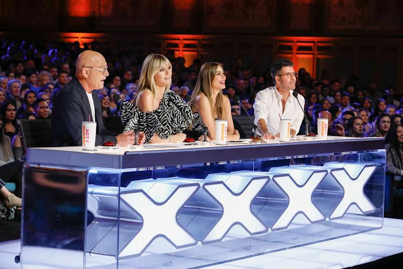 "Here's a pre-pandemic look at the ""America's Got Talent"" judging panel - Howie Mandel, left, Heidi Klum, Sofia Vergara and Simon Cowell - and thousands of fans during the Season 15's first auditions episode, which aired in May."