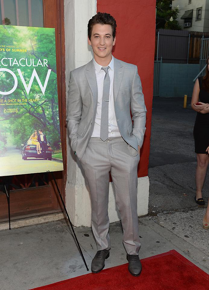 "LOS ANGELES, CA - JULY 30:  Actor Miles Teller attends the screening of A24's ""The Spectacular Now"" at the Vista Theatre on July 30, 2013 in Los Angeles, California.  (Photo by Jason Kempin/Getty Images)"