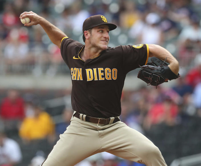 San Diego Padres starting pitcher Reiss Knehr delivers against the Atlanta Braves during the first inning of the second baseball game of a doubleheader Wednesday, July 21, 2021, in Atlanta. (Curtis Compton/Atlanta Journal-Constitution via AP)