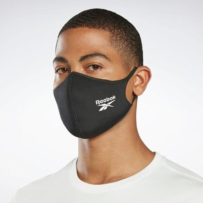 "This athletic face mask is made with recycled polyester and elastane for a comfortable fit. <a href=""https://fave.co/3icLMrV"" rel=""nofollow noopener"" target=""_blank"" data-ylk=""slk:Find it for $30 at Reebok"" class=""link rapid-noclick-resp"">Find it for $30 at Reebok</a>.<a href=""https://fave.co/3icLMrV"" rel=""nofollow noopener"" target=""_blank"" data-ylk=""slk:"" class=""link rapid-noclick-resp""><br></a>"