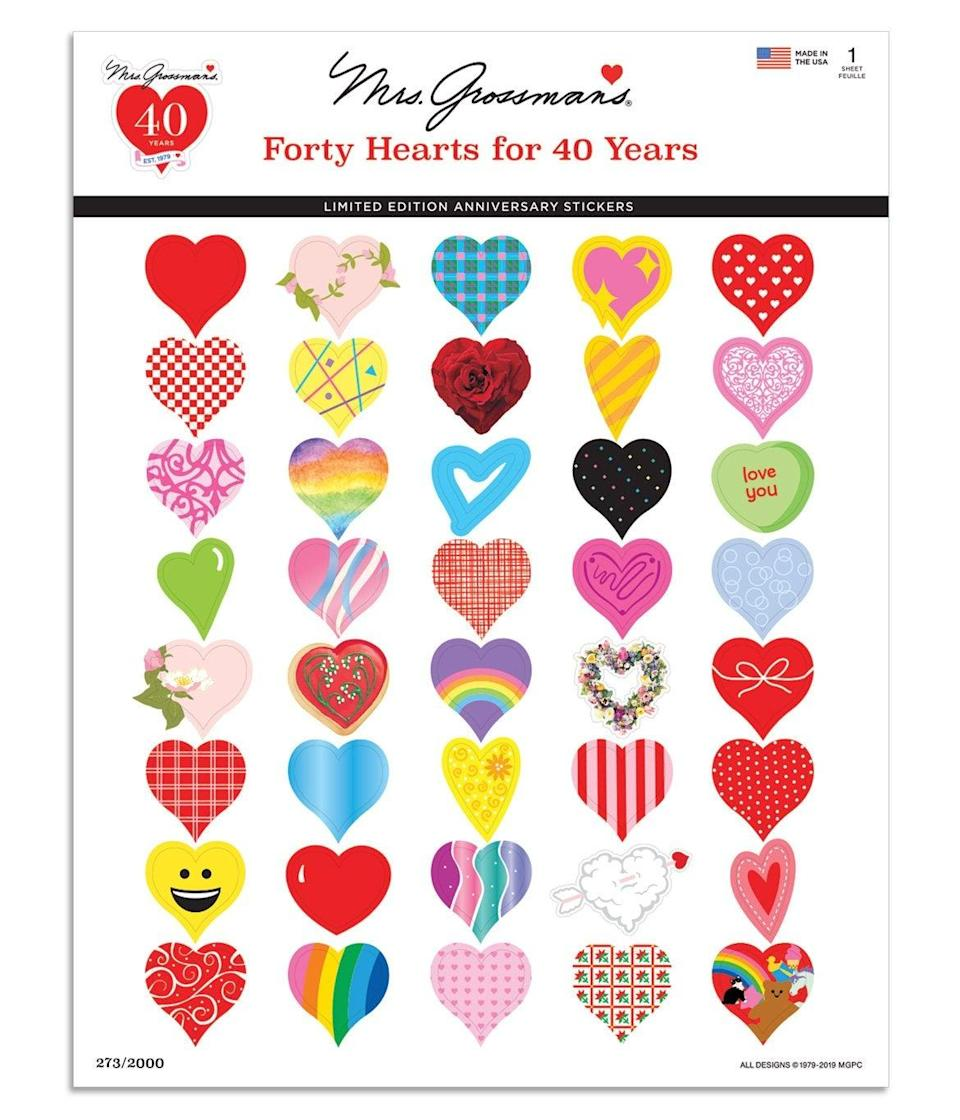 """<h2>Mrs. Grossman's Forty Hearts for Forty Years Sticker Set</h2><br>Even if your best bud got rid of her sticker book many moons ago, she will really appreciate this set of throwback hearts from sticker standby Mrs. Grossman's — at $4.99, it's a very affordable way to spread some good vibes on February 14th.<br><br><em>Shop </em><strong><em><a href=""""https://mrsgrossmans.com/"""" rel=""""nofollow noopener"""" target=""""_blank"""" data-ylk=""""slk:Mrs. Grossman's"""" class=""""link rapid-noclick-resp"""">Mrs. Grossman's</a></em></strong><br><br><strong>Mrs. Grossman's</strong> Forty Hearts for Forty Years Sticker Set, $, available at <a href=""""https://go.skimresources.com/?id=30283X879131&url=https%3A%2F%2Fmrsgrossmans.com%2Fproducts%2Fforty-hearts-for-40-years"""" rel=""""nofollow noopener"""" target=""""_blank"""" data-ylk=""""slk:Mrs. Grossman's"""" class=""""link rapid-noclick-resp"""">Mrs. Grossman's</a>"""