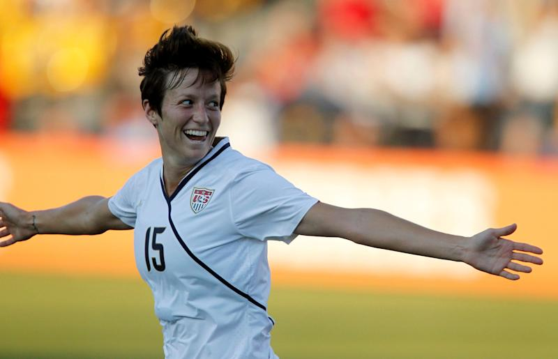 KENNESAW - OCTOBER 2: Midfielder Megan Rapinoe #15 of the U.S. Women's National Soccer Team celebrates her first half goal during the game against the People's Republic of China Women's National Soccer Team on October 2, 2010 in Kennesaw, Georgia. The U.S. beat China 2-1. (Photo by Mike Zarrilli/Getty Images)