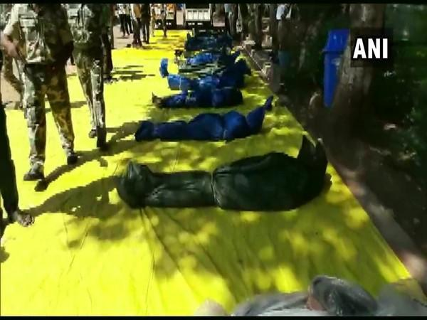Bodies of Naxals killed in operation (Photo/ANI)