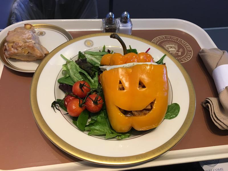 Photo shared by Michelle Kosinski of Air Force One Halloween themed meal with an unidentified side dish