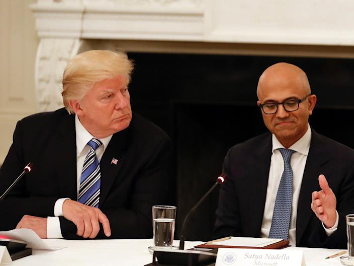 President Donald Trump and Microsoft CEO Satya Nadella
