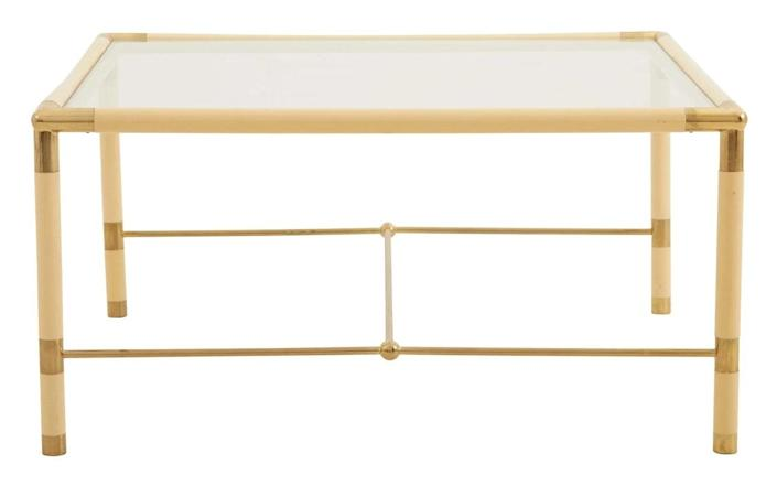 """$1295, Jayson Home. <a href=""""https://www.jaysonhome.com/products/vintage-cream-brass-square-table"""" rel=""""nofollow noopener"""" target=""""_blank"""" data-ylk=""""slk:Get it now!"""" class=""""link rapid-noclick-resp"""">Get it now!</a>"""