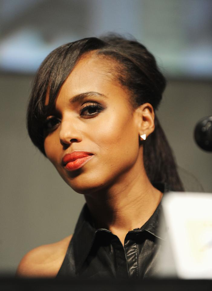 """SAN DIEGO, CA - JULY 14:  Actress Kerry Washington speaks at the """"Django Unchained"""" panel during Comic-Con International 2012 at San Diego Convention Center on July 14, 2012 in San Diego, California.  (Photo by Albert L. Ortega/Getty Images)"""