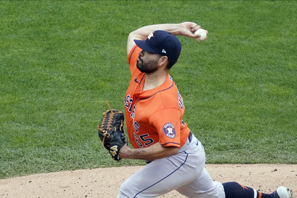Houston Astros pitcher Jose Urquidy throws against the Minnesota Twins in the second inning of an American League wild-card series baseball game, Wednesday, Sept. 30, 2020, in Minneapolis. (AP Photo/Jim Mone)