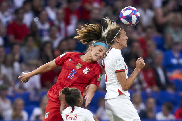 Jill Scott of England battle for the ball with Julie Ertz of USA during the 2019 FIFA Women's World Cup France Semi Final match between England and USA at Stade de Lyon on July 02, 2019 in Lyon, France. (Photo by Quality Sport Images/Getty Images)