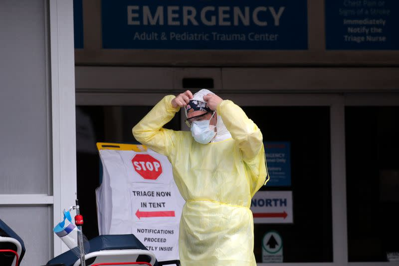 Healthcare worker outside Maimonides Medical Center during outbreak of coronavirus disease (COVID-19) in Brooklyn New York