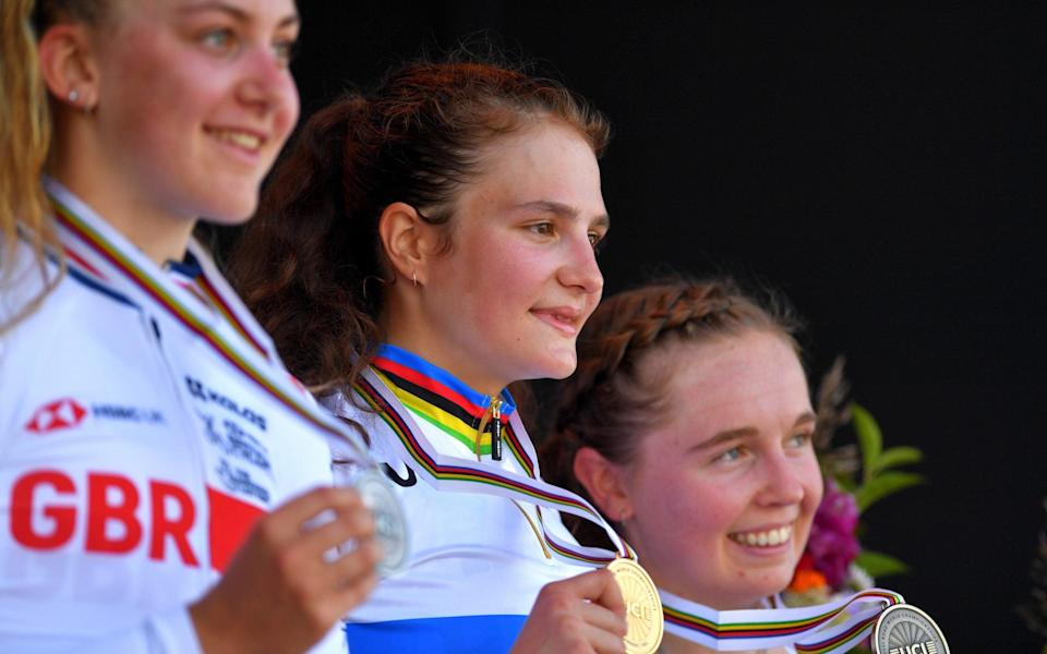 Zoe Backstedt (left to right), Alena Ivanchenko and Antonia Niedermaier – Britain's Zoe Backstedt takes junior time trial silver behind Russia's Alena Ivanchenko - GETTY IMAGES