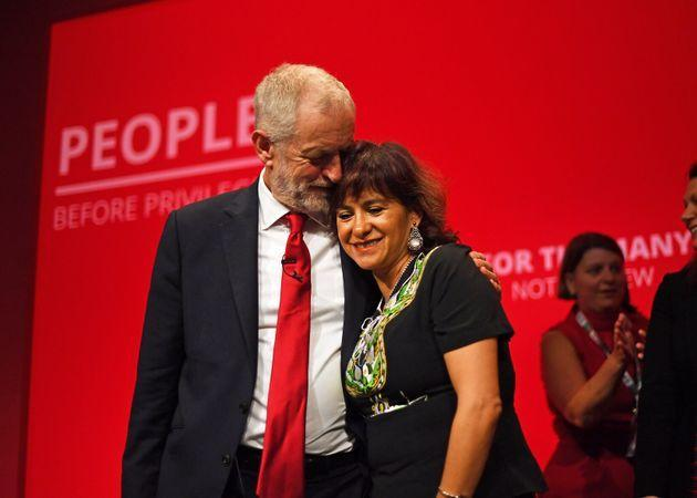 Former Labour leader Jeremy Corbyn with his wife Laura Alvarez, after speaking at the party's annual Conference at in Brighton (Photo: Victoria Jones - PA Images via Getty Images)