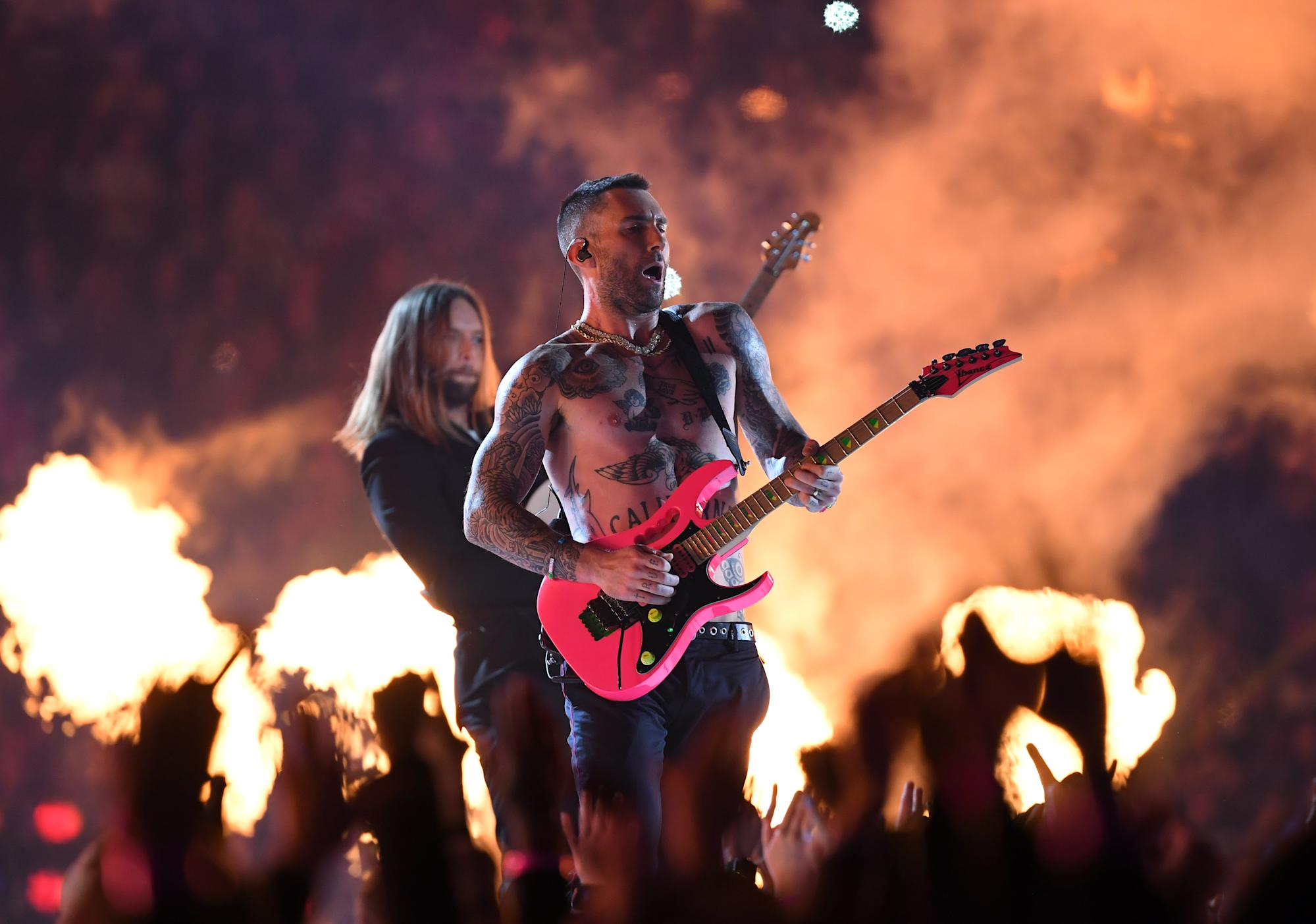 Adam Levines shirtless Super Bowl Halftime show attracts