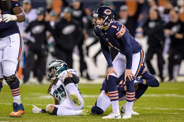 Who will replace Cody Parkey? The Bears have whittled the competition down to two kickers — maybe. (Photo by Daniel Bartel/Icon Sportswire via Getty Images)