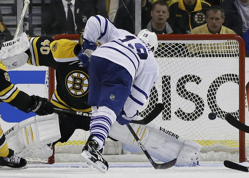 Toronto Maple Leafs right wing Joffrey Lupul (19) puts the puck past Boston Bruins goalie Tuukka Rask (40) for a goal during the second period in Game 2 of a first-round NHL hockey playoff series in Boston, Saturday, May 4, 2013. (AP Photo/Elise Amendola)