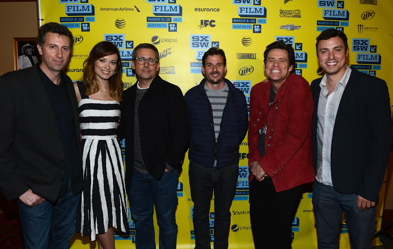 "AUSTIN, TX - MARCH 08:  (L-R) Writer, Johnathan Goldstein, actress Olivia Wilde, actor Steve Carell, producer Chris Bender, actor Jim Carrey and writer John Francis Daley pose in the green room for the screening of ""The Incredible Burt Wonderstone"" during the 2013 SXSW Music, Film + Interactive Festival at the Paramount Theatre on March 8, 2013 in Austin, Texas.  (Photo by Michael Buckner/Getty Images)"