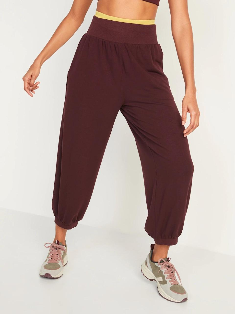 <p>It doesn't get much more comfy than sweats and these <span>Old Navy High-Waisted Cozy-Knit Ankle Jogger Sweatpants</span> ($30) perfectly match the glass of burgundy we'll sip on the couch.</p>