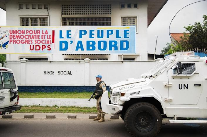 Congolese opposition party Union for Democracy and Social Progress, whose headquarters are pictured in 2016, said its leader had been detained and two of its activists had been arrested by security forces (AFP Photo/Junior KANNAH)
