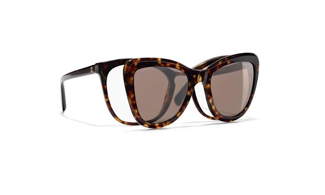 "<p>These stylishly convenient frames give you prescription glasses paired with clip-on shades.<br><br>Clip On Summer $715, <a href=""https://www.chanel.com/en_US/fashion/sunglasses/product/A71260S6441/clip-on-summer-dark-tortoise/"" rel=""nofollow noopener"" target=""_blank"" data-ylk=""slk:chanel.com"" class=""link rapid-noclick-resp"">chanel.com</a> </p>"