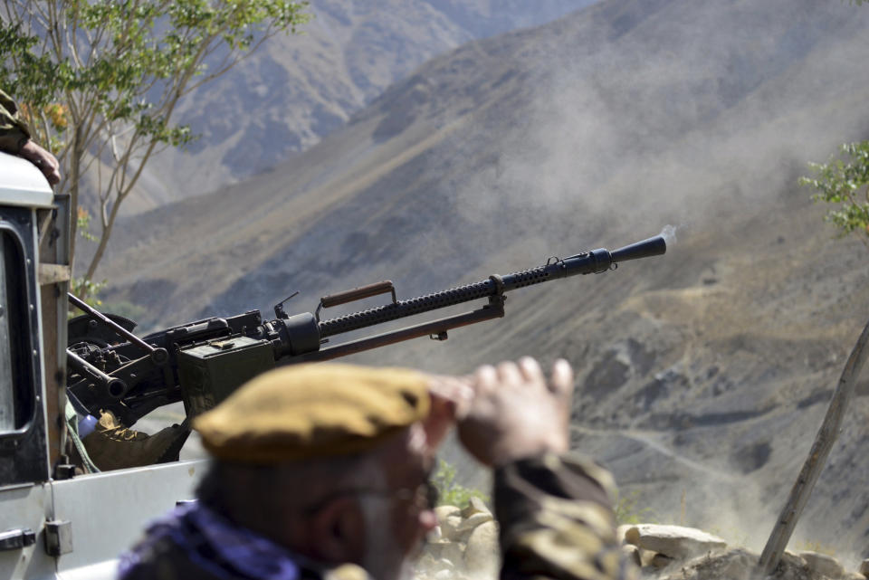 Militiamen loyal to Ahmad Massoud, son of the late Ahmad Shah Massoud, take part in a training exercise, in Panjshir province, northeastern Afghanistan, Monday, Aug. 30, 2021. The Panjshir Valley is the last region not under Taliban control following their stunning blitz across Afghanistan. Local fighters held off the Soviets in the 1980s and the Taliban a decade later under the leadership of Ahmad Shah Massoud, a guerrilla fighter who attained near-mythic status before he was killed in a suicide bombing in 2001. (AP Photo/Jalaluddin Sekandar)