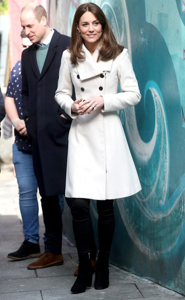 """<p>Kate and William kicked off the second day of their royal tour in Ireland with a <a href=""""https://people.com/royals/kate-middleton-and-prince-william-step-out-for-day-2-of-their-royal-tour-in-ireland/"""">visit to Jigsaw, a mental health charity, in Dublin</a>. For the outing, Kate wore her cream """"Olivia"""" coat by Reiss (which <a href=""""https://people.com/royals/kate-middleton-rewears-cream-coat-from-her-pre-royal-dating-years-with-prince-william/"""">she also sported in April 2008, when she and William were dating</a>) with black skinny jeans and knee-high boots.</p><p><strong>Get the Look!</strong></p><p>Allegra K Notched Lapel Double Breasted Raglan Winter Coat, $66.99–$75.99; <a href=""""https://www.amazon.com/Allegra-Womens-Notched-Double-Breasted/dp/B07MH1YY7L/ref=as_li_ss_tl?ie=UTF8&linkCode=ll1&tag=poamzfkatemiddletonspringstylekphillips0320-20&linkId=268e630dc4f1afc9a38ca1d0a12ffa6b&language=en_US"""">amazon.com</a></p><p>Cupcakes and Cashmere Havana Faux Shearling Coat, $198; <a href=""""https://click.linksynergy.com/deeplink?id=93xLBvPhAeE&mid=1237&murl=https%3A%2F%2Fshop.nordstrom.com%2Fs%2Fcupcakes-and-cashmere-havana-faux-shearling-coat%2F5450844%2Flite&u1=PEO%2CEverythingYouNeedtoCopyKateMiddleton%E2%80%99sSpringStyle%2Ckphillip%2CRoy%2CGal%2C7706765%2C202003%2CI"""" target=""""_blank"""" rel=""""nofollow"""">nordstrom.com</a></p><p>Topshop Kim Bouclé Coat, $90 (orig. $150); <a href=""""https://click.linksynergy.com/deeplink?id=93xLBvPhAeE&mid=1237&murl=https%3A%2F%2Fshop.nordstrom.com%2Fs%2Ftopshop-kim-boucle-coat-regular-petite%2F5412904%2Flite&u1=PEO%2CEverythingYouNeedtoCopyKateMiddleton%E2%80%99sSpringStyle%2Ckphillip%2CRoy%2CGal%2C7706765%2C202003%2CI"""" target=""""_blank"""" rel=""""nofollow"""">nordstrom.com</a></p><p>Allegra K Stand Collar Double Breasted Winter Coat, $72.99–$78.99; <a href=""""https://www.amazon.com/Allegra-Womens-Breasted-Pockets-Outwear/dp/B07T69536J/ref=as_li_ss_tl?ie=UTF8&linkCode=ll1&tag=poamzfkatemiddletonspringstylekphillips0320-20&linkId=fd6f35897bb4cfdcbac37505ad9"""